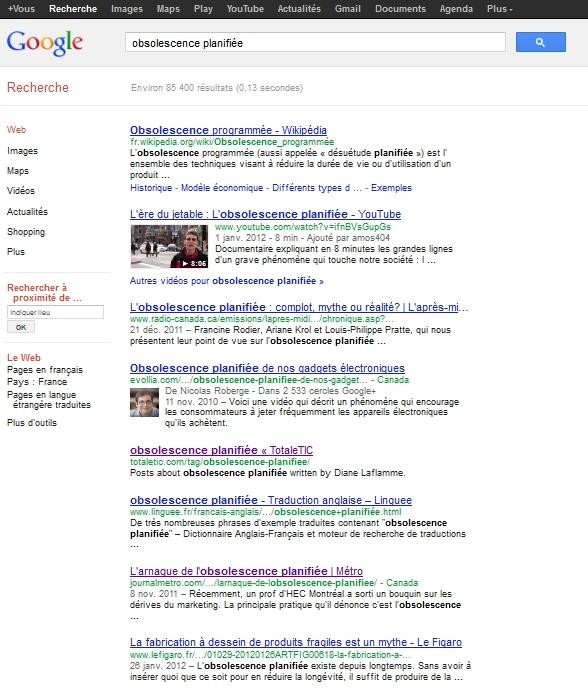 """Résultats de recherche - """"Obsolescence Planifiée"""""""
